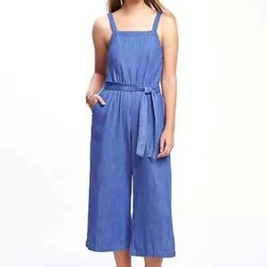 Chambray Square-Neck, Wide-Leg, Cropped Jumpsuit